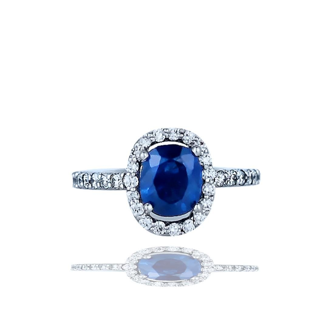 Halo, 2.85 TCW, Sapphire and Diamond Ring, Top Quality