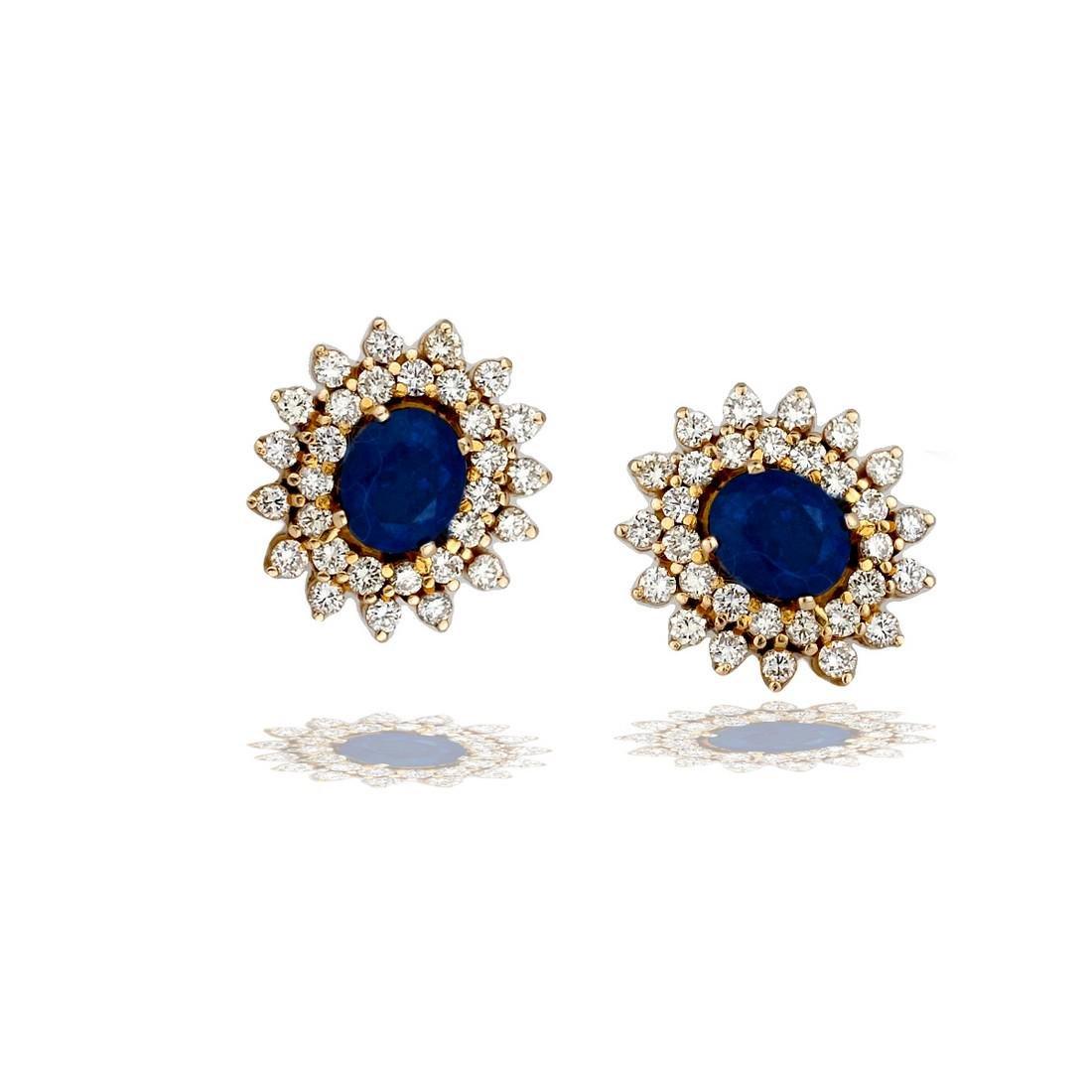 Double, 3.00 TCW Diamond Halo & Sapphire Stud Earrings,