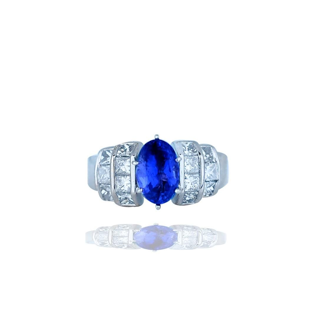 Sapphire and Channel 3.35TCW Diamond, Baguette, Ring 18