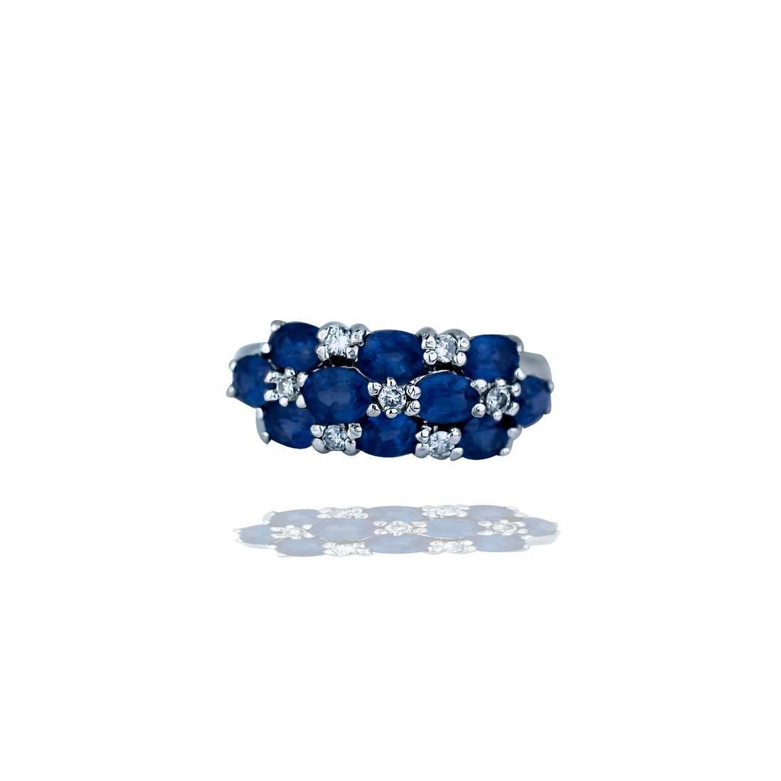 Sapphire and Diamond, 3.00 TCW, Three Row Band Ring, 14