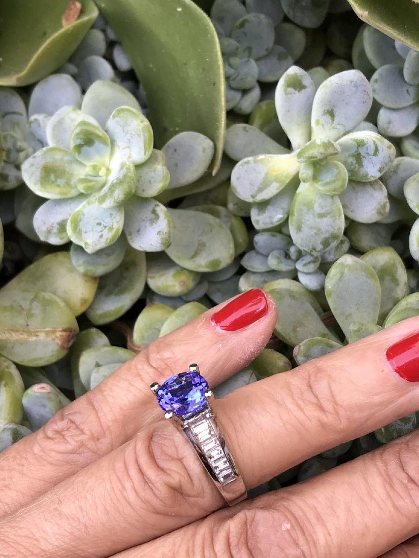 Tanzanite Ring,  5.24 TCW, Channel Styled with Baguette - 3