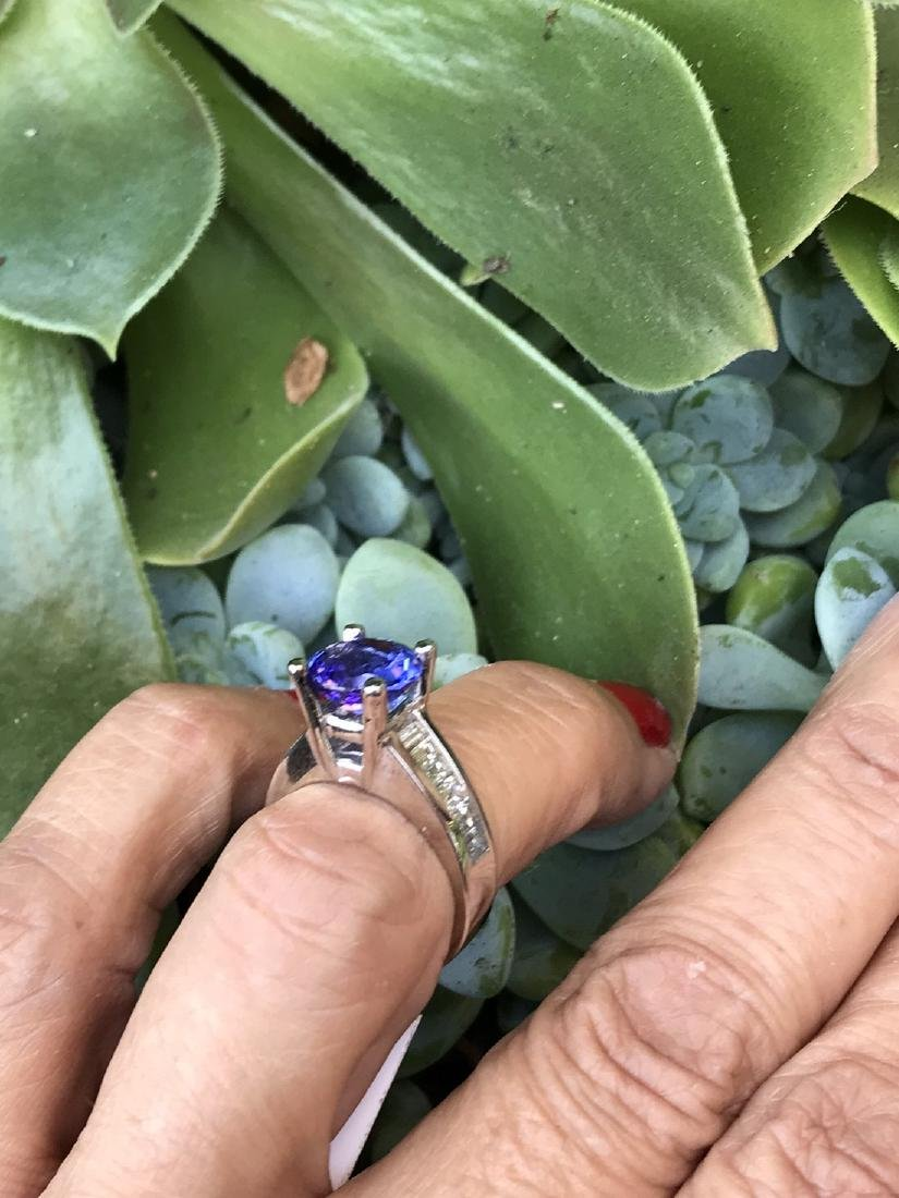 Tanzanite Ring,  5.24 TCW, Channel Styled with Baguette - 4