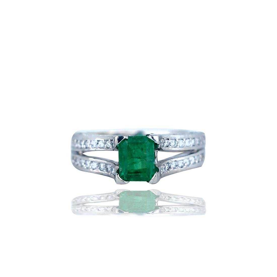 Radiant Emerald and Diamond, 4.26 TCW Double shanked,