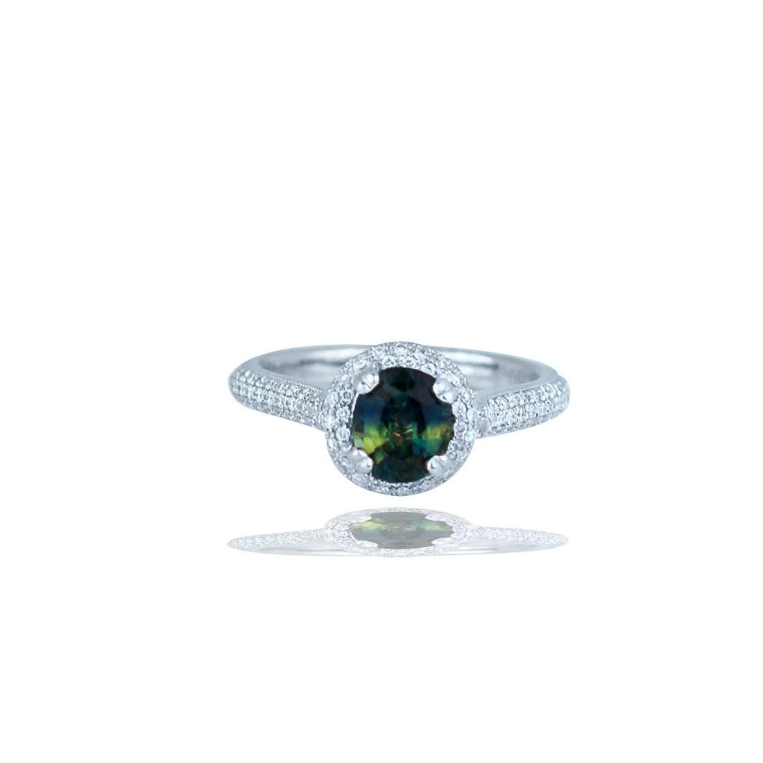 Sapphire and Diamond 2.88 TCW, Pave Halo Ring, 18 Kt.