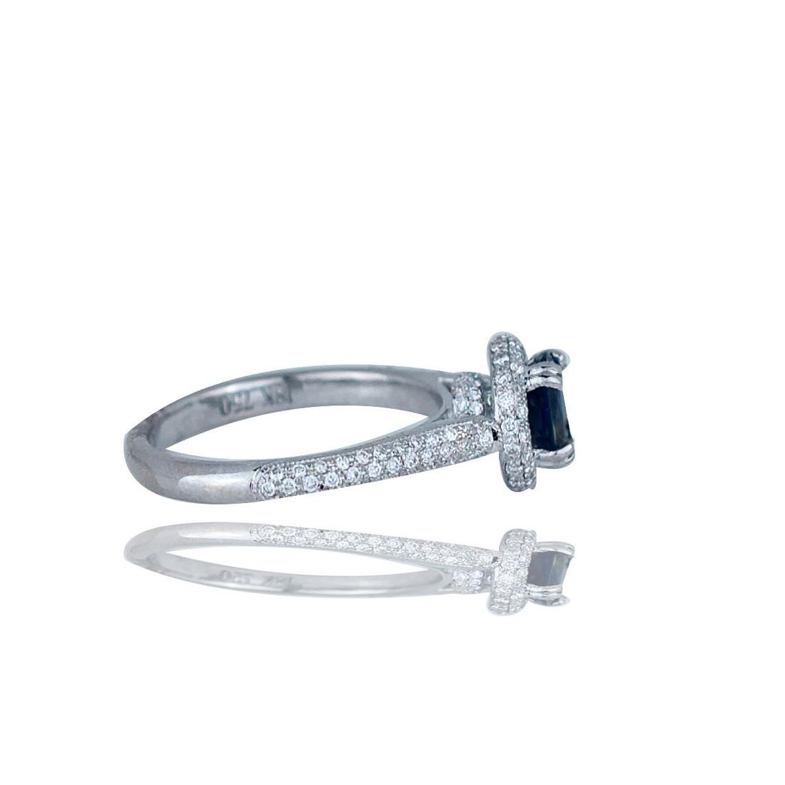Sapphire and Diamond 2.88 TCW, Pave Halo Ring, 18 Kt. - 2