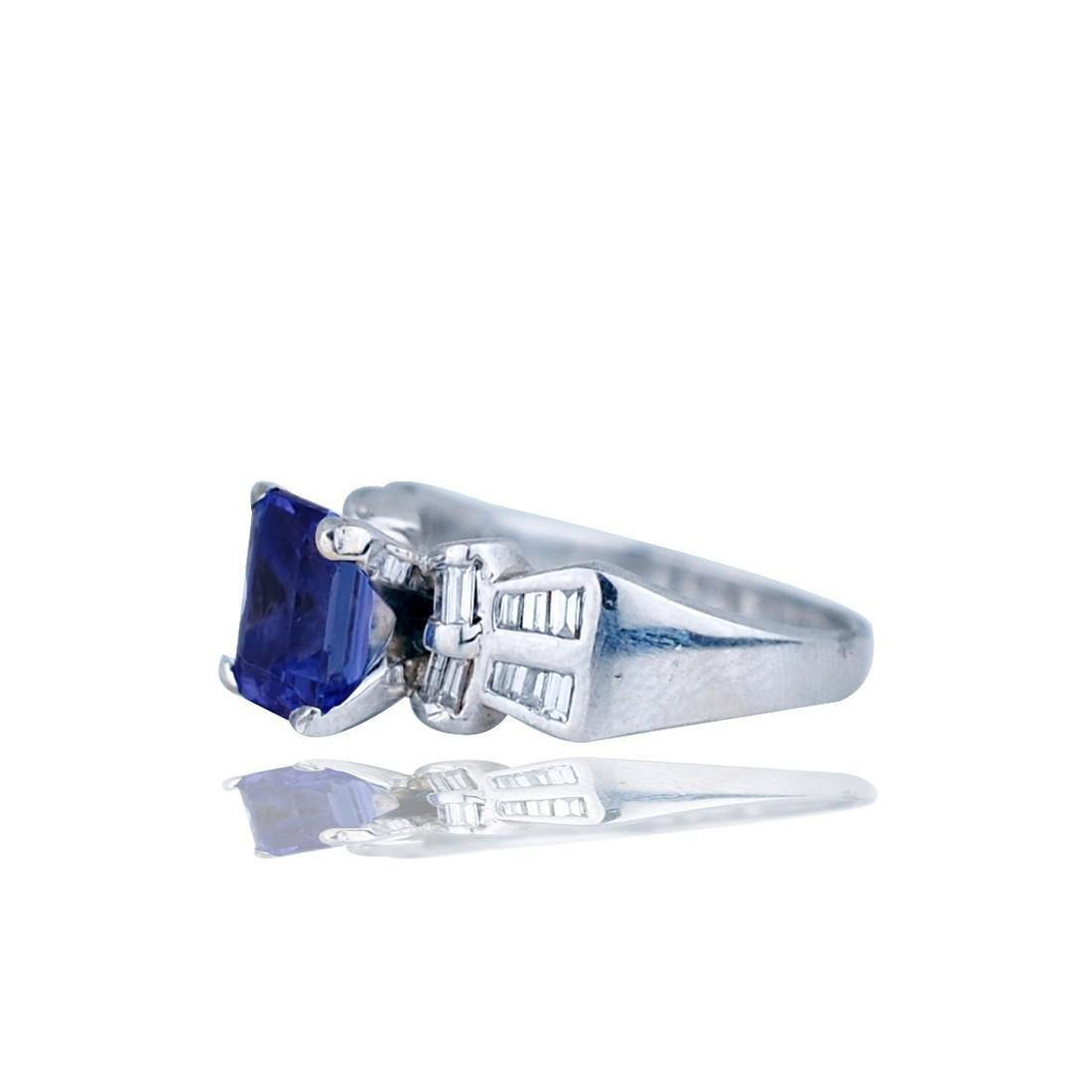 Platinum Ring, Bow-Tie Styled With Baguette Diamond & - 2