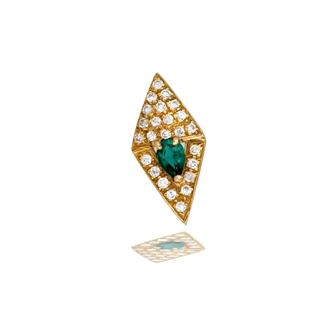 Marquise drop, Green and White,  1.50 TCW, Pave Set