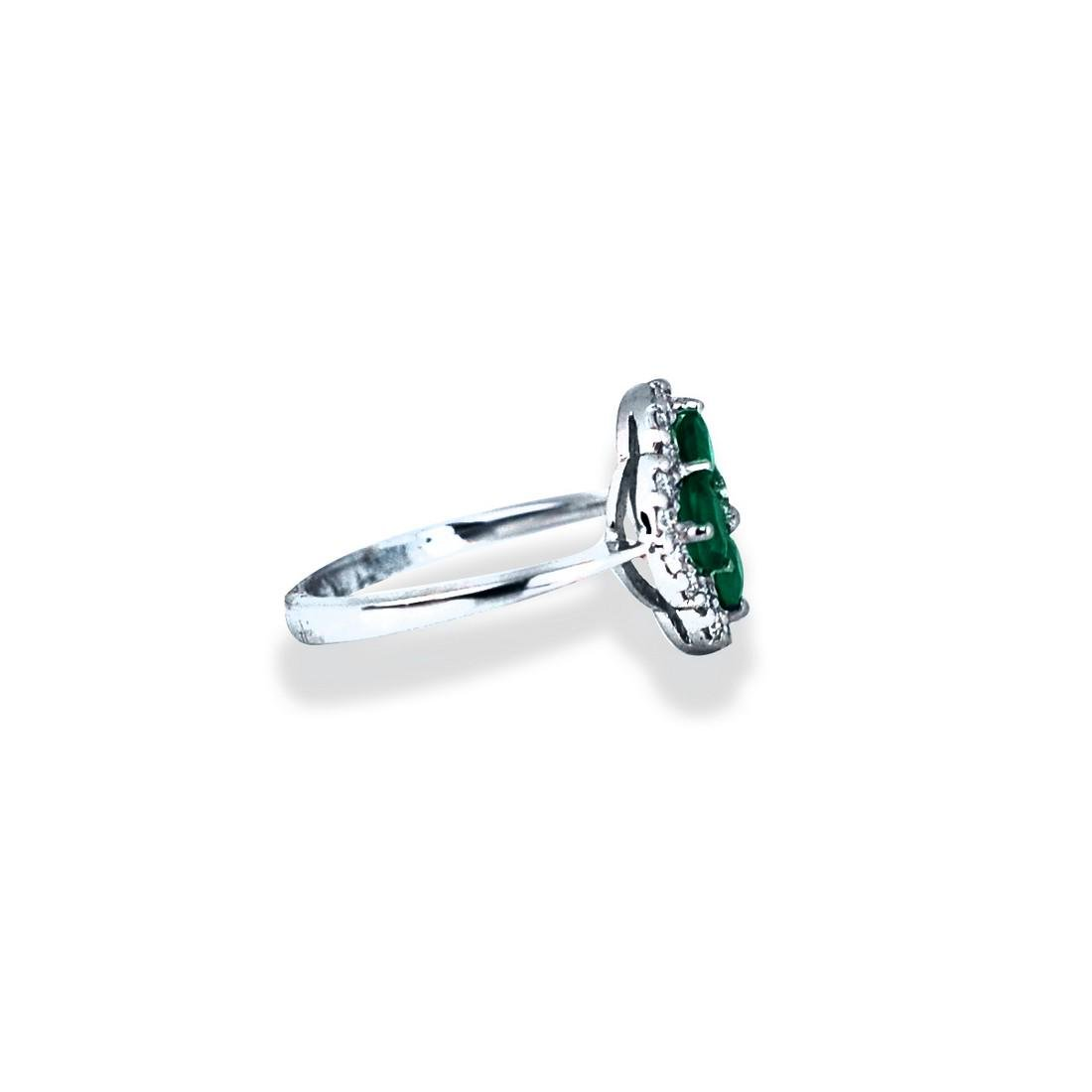 Emerald, 13 mm wide, white gold Clover Shaped Diamond - 2