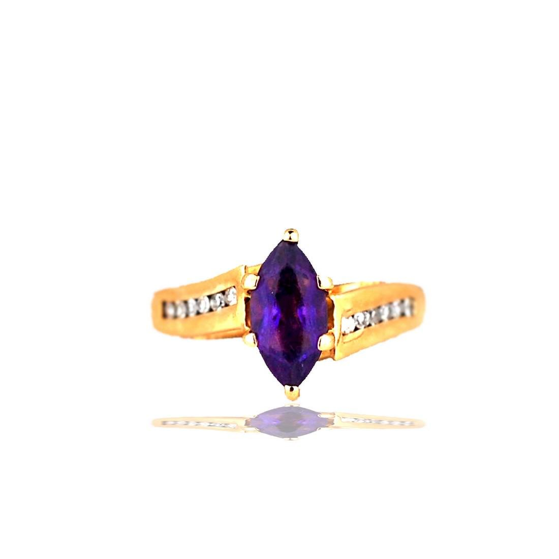 Marquise, Amethyst Solitaire Ring with Channel set