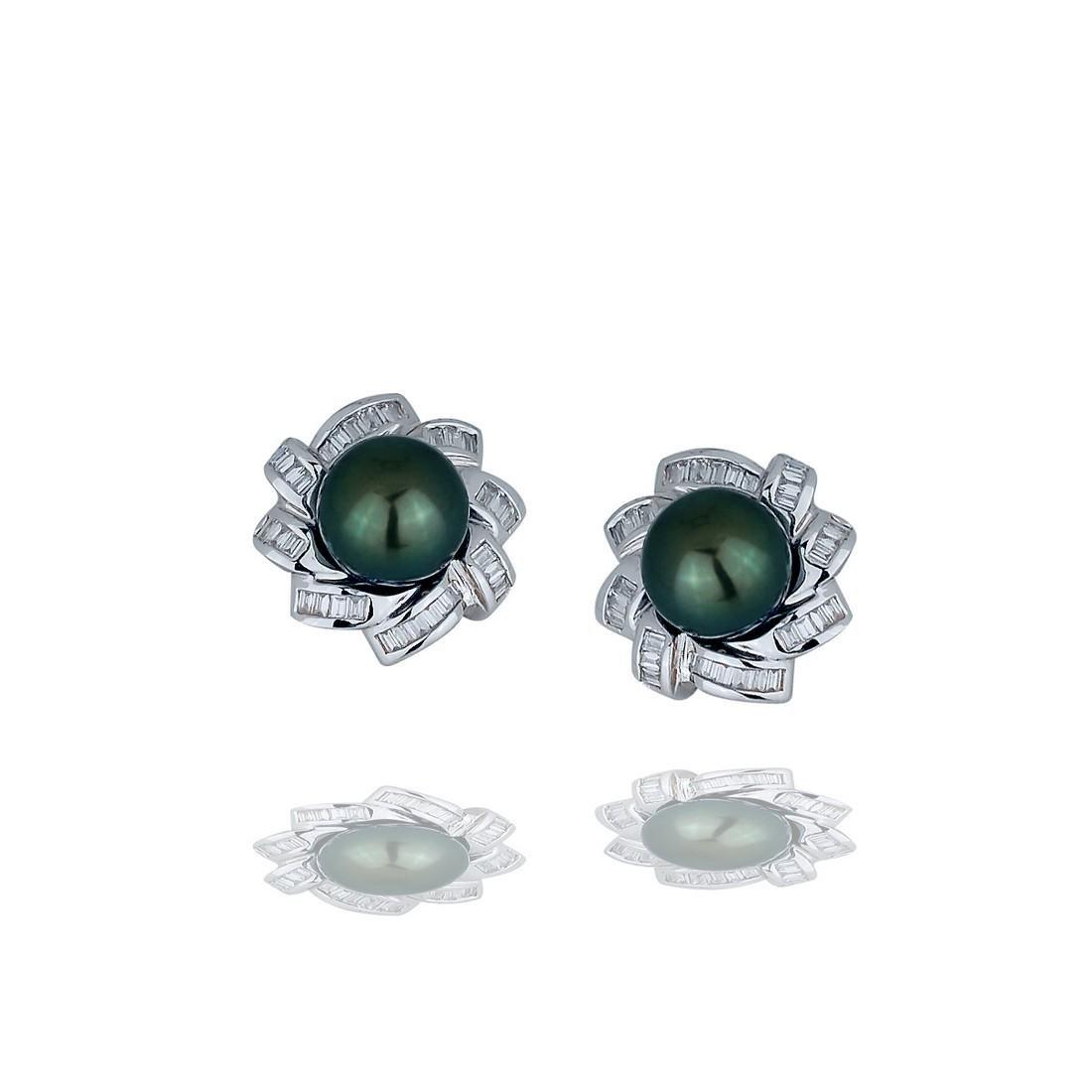 Tahitian 10 mm Pearl, 2.40 Carat Baguette Diamond, 18
