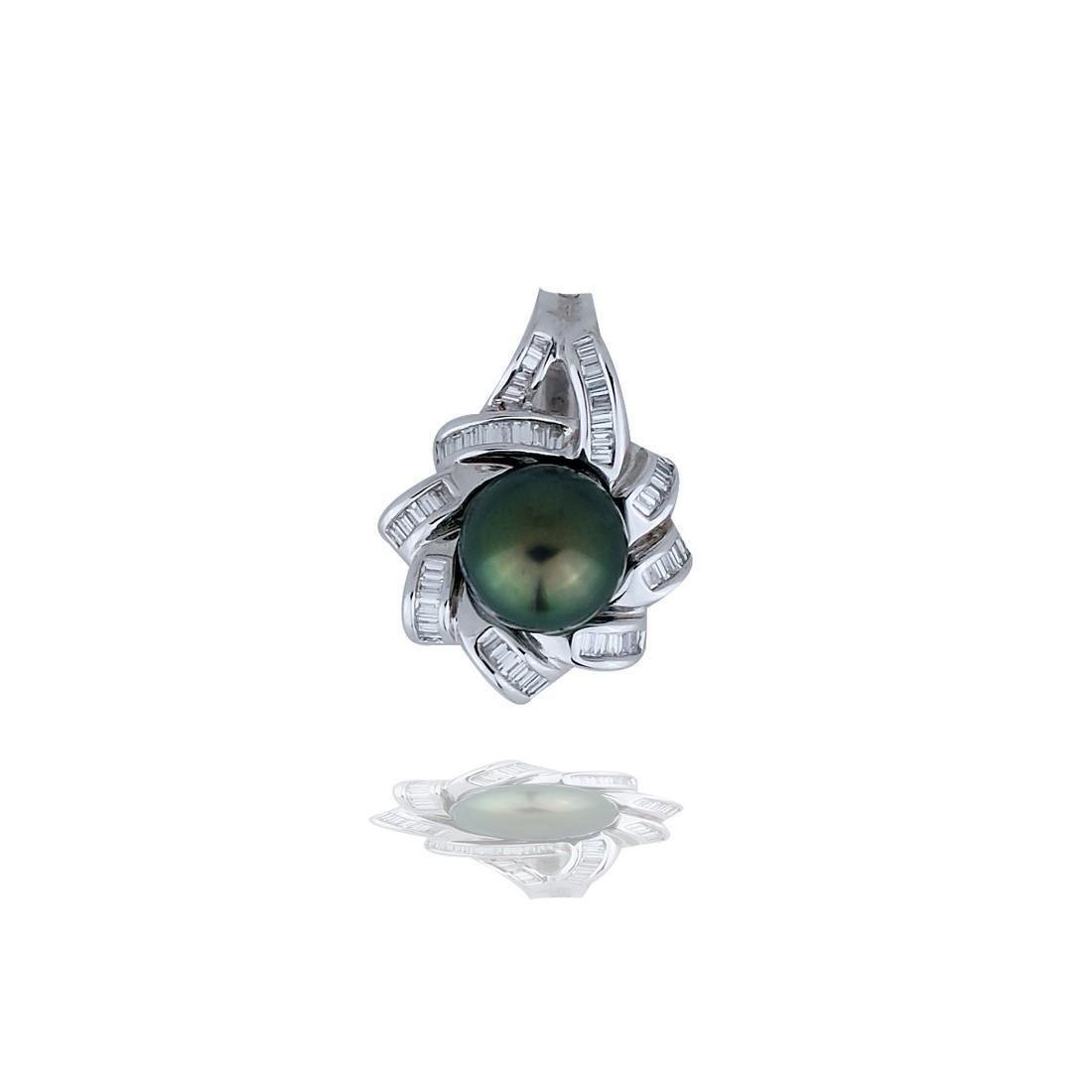 Tahitian 10mm Pearl Baguette, 1.80 Ct Diamond 18 Karat