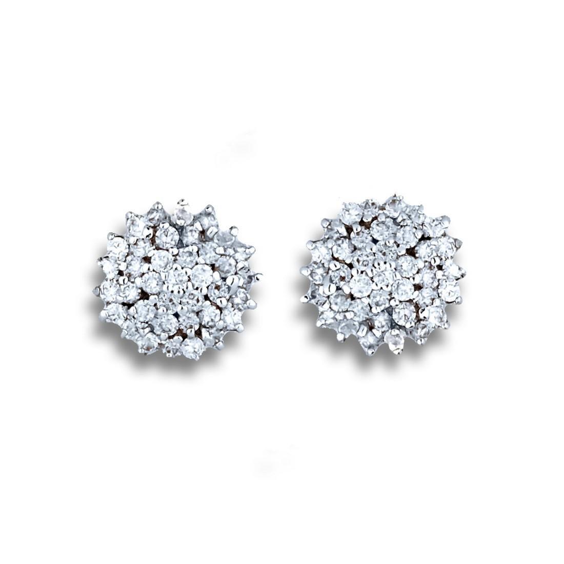 Cluster Diamond Earrings, 14 karat and .75 Carat Total