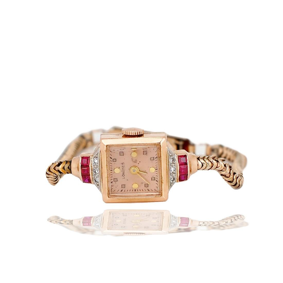 Victorian, Rose Gold, Ruby & Diamond Longines 17