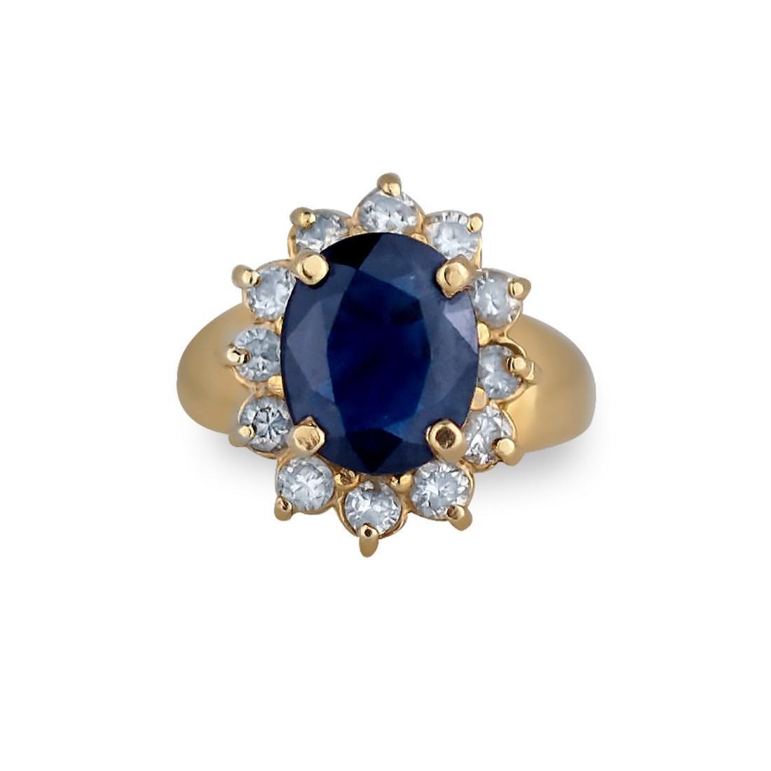 Princess Diana, .85 CT. Diamond halo & 3.00 Ct Sapphire