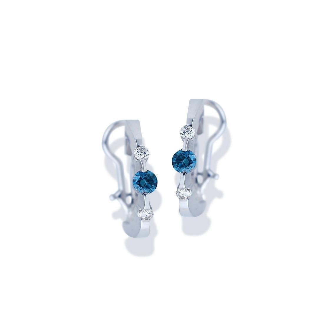 Blue Diamonds, 1.07 Carat, Hoop Earrings, White gold