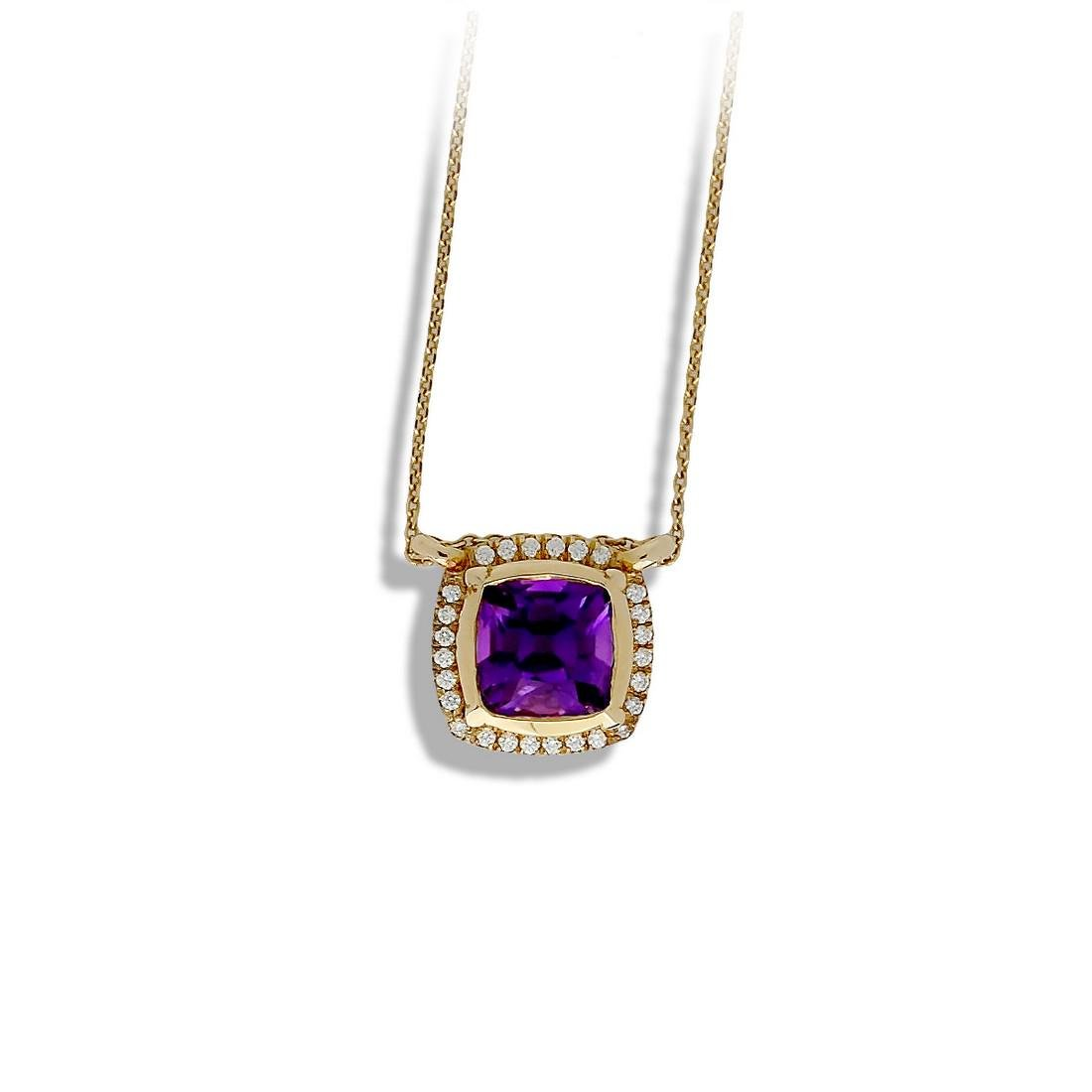 Brazilian Amethyst Halo, European Cushion With .60 Ct.