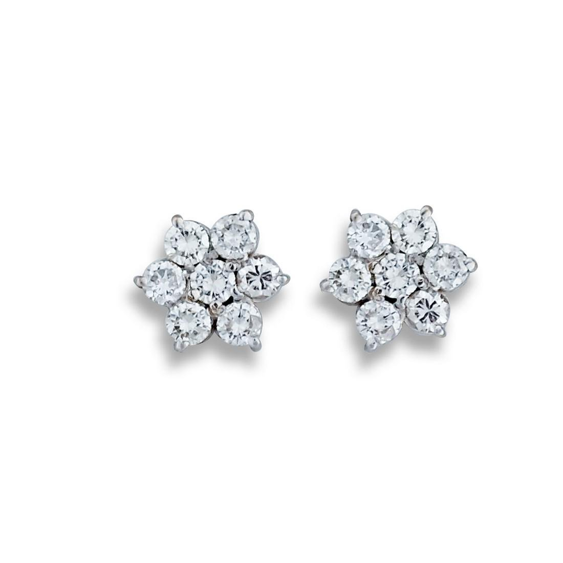Sparkling, Diamond 1.30 TCW, Cluster Earrings, 14 Karat