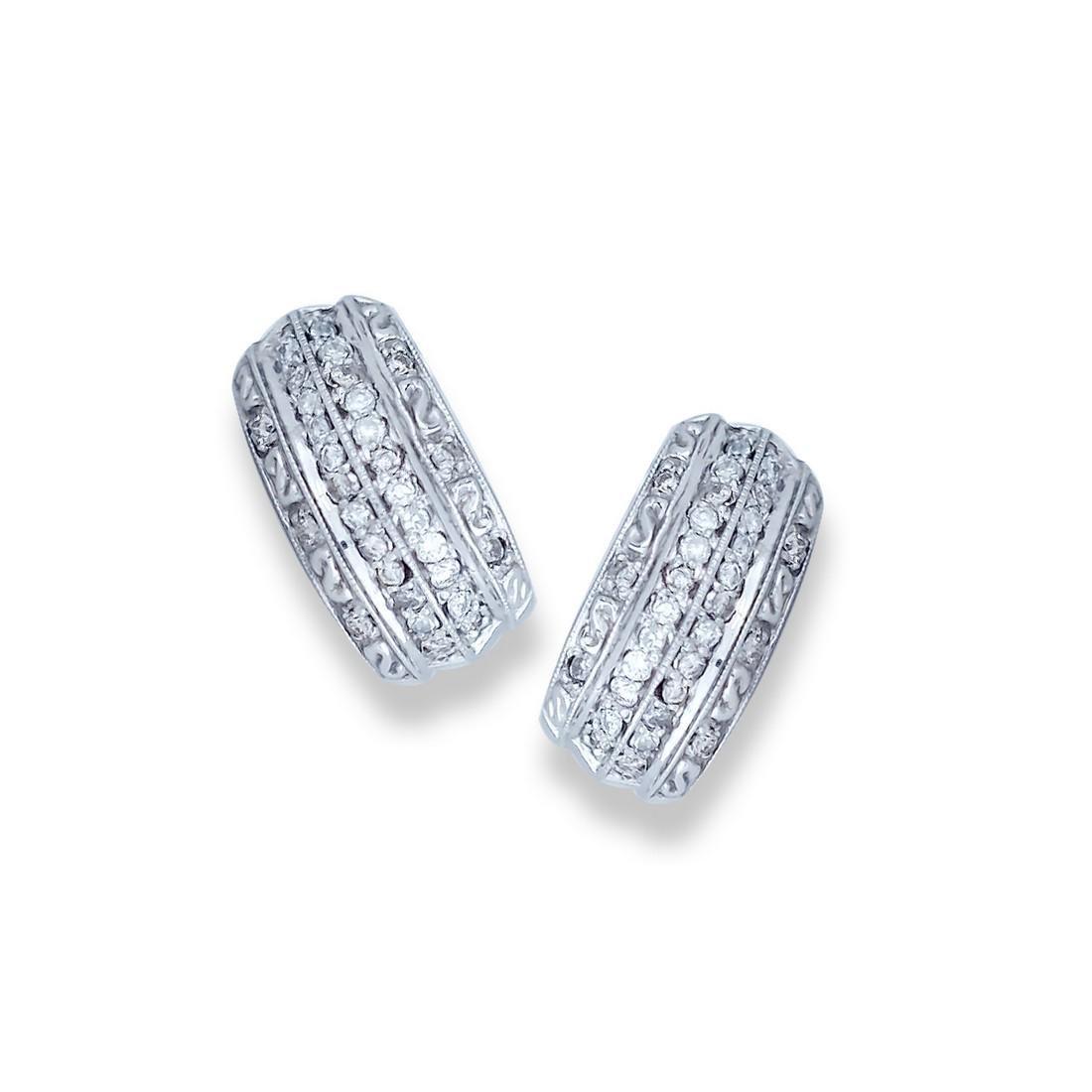 Four-Row, 1.20 TCW. Pave Diamond White Gold, Earrings