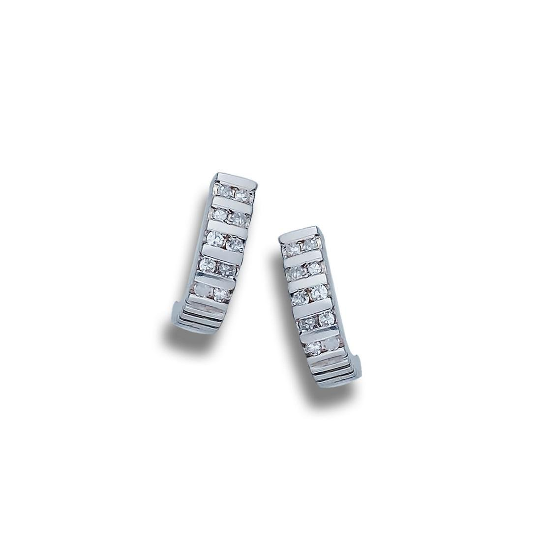 Five-Row, Channel 1/4 CT. Diamond Earrings, 14 Karat
