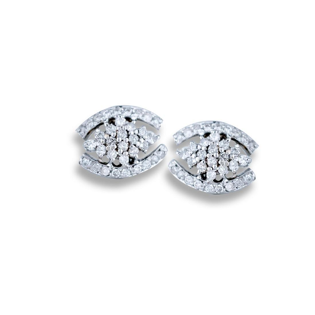 Pave Diamond Earrings, 14 Karat .75 Carat TW
