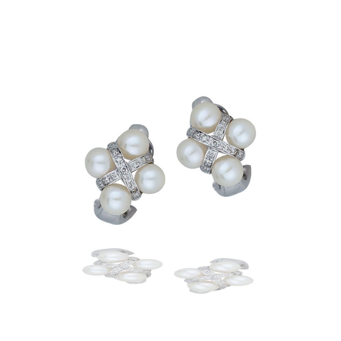 Vintage, Diamond and Pearl Cross-Cross, Omega Earrings,