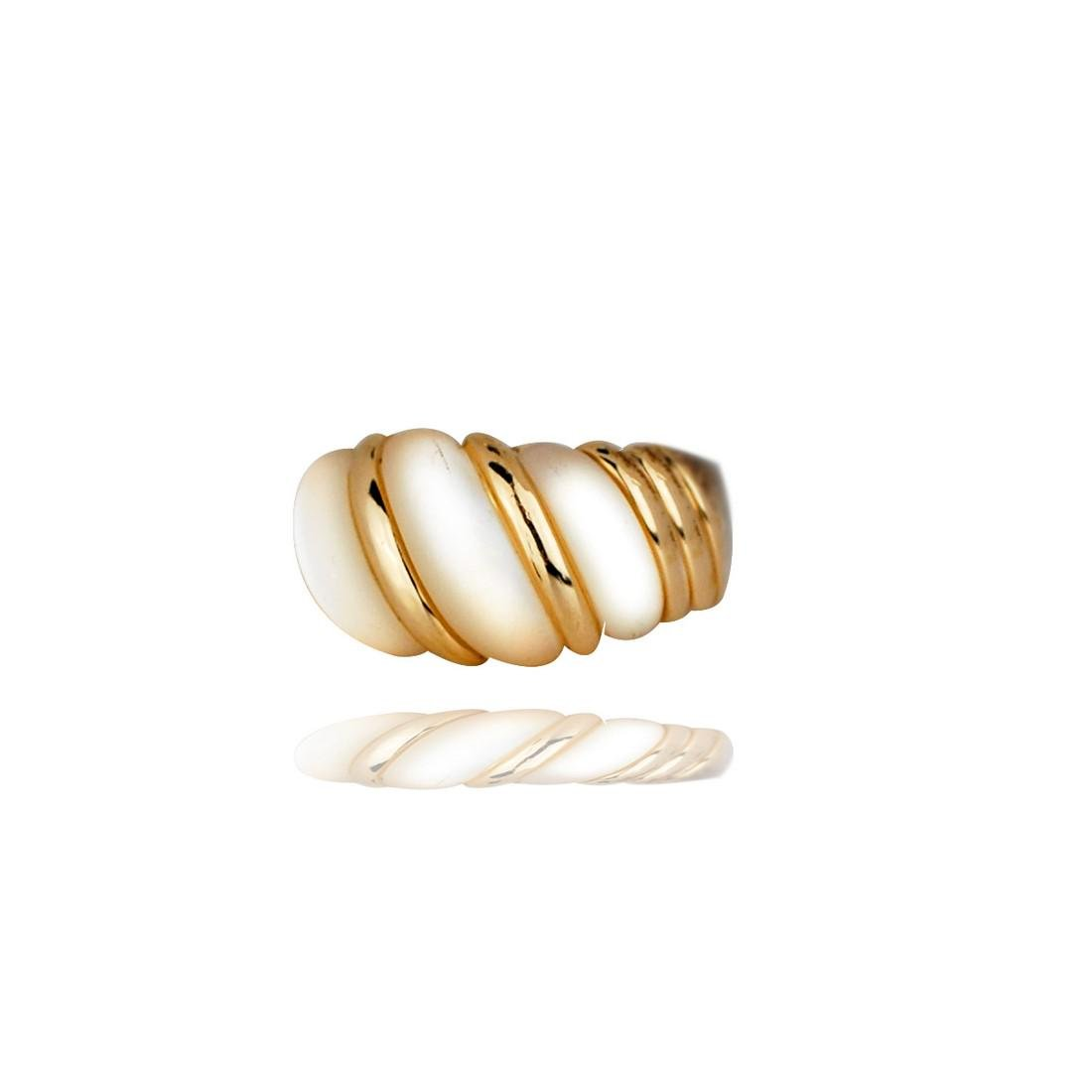 Kabana,  Mother of Pearl Corrigated Band Ring