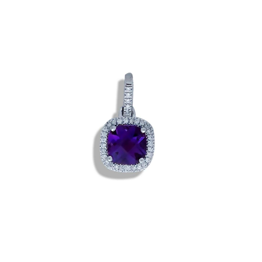 Amethyst Diamond Halo, 14 Karat White Gold Pendant