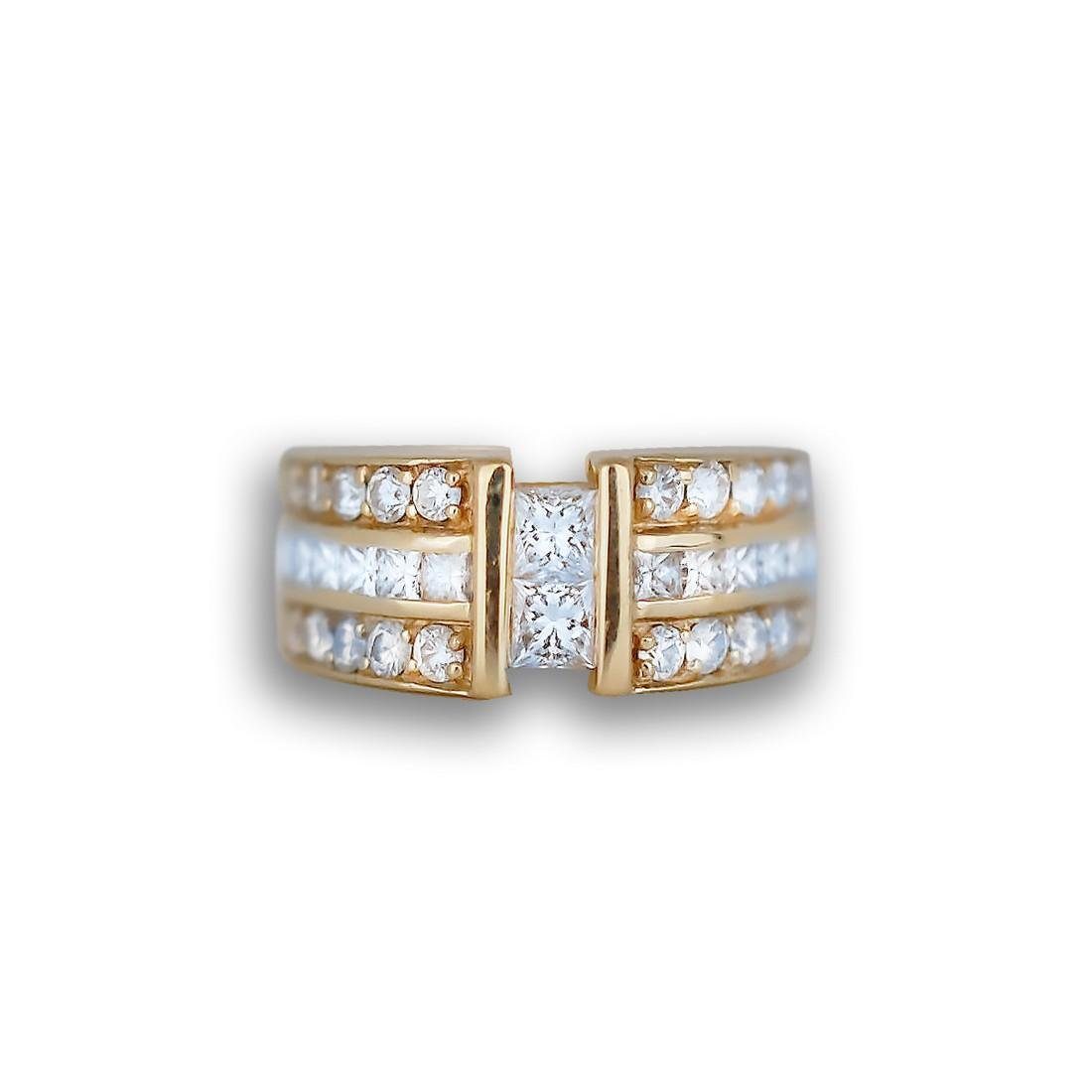Princess and Round, 1.50 CT. Diamond Gold Triple Row