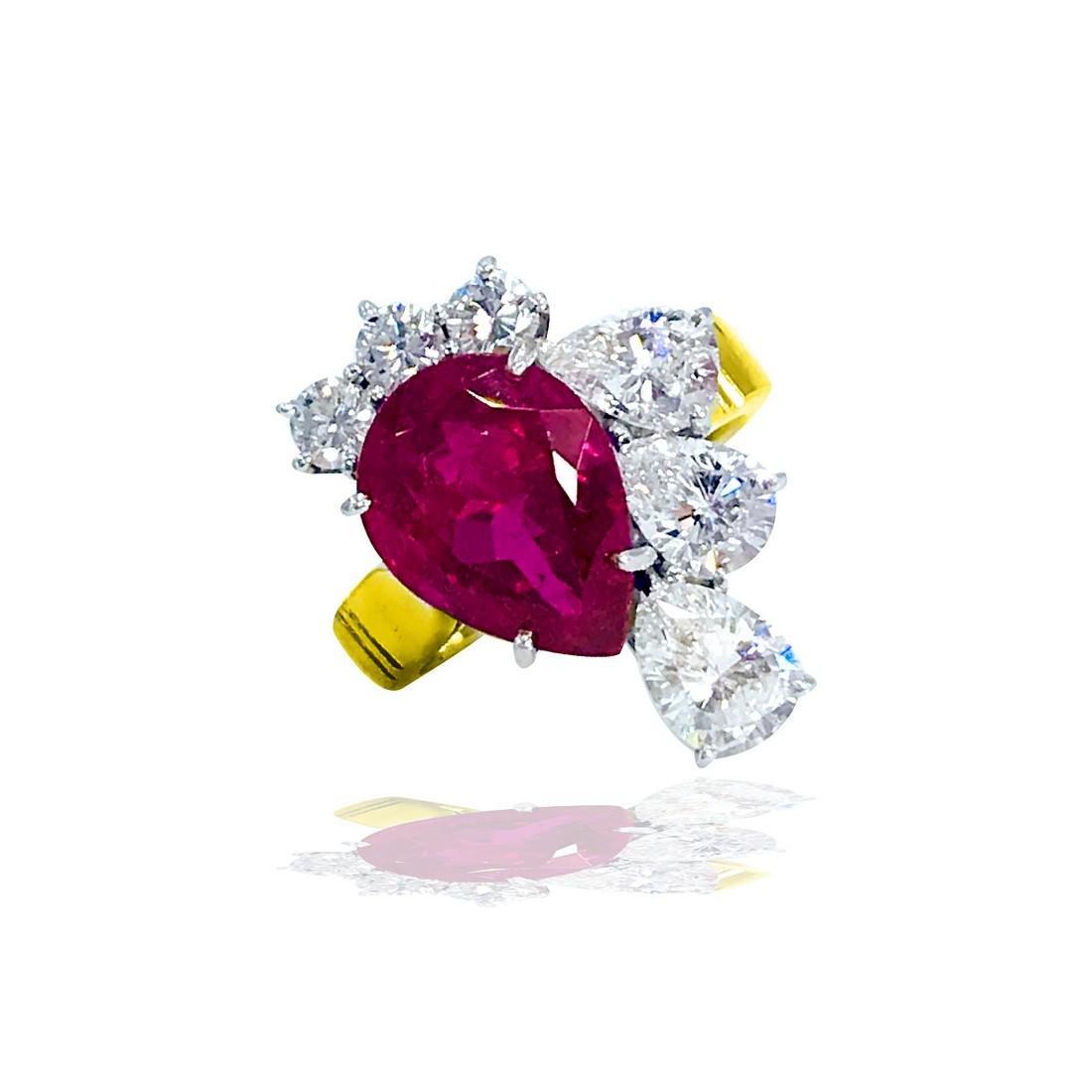 Pear Shaped Pink 4.20 Ct. Tourmaline & 2.80 CT Diamond - 2