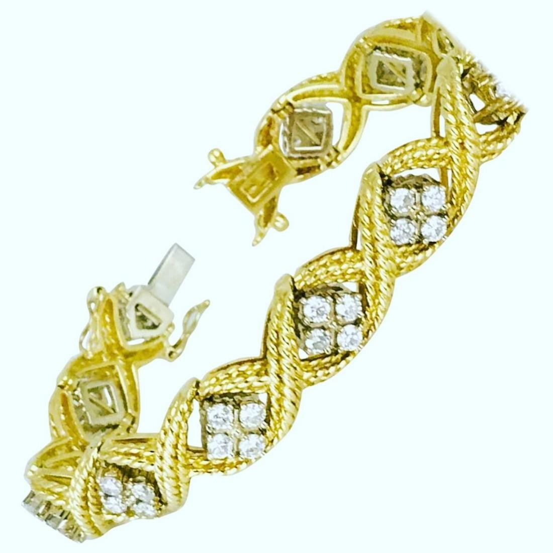 Retro, Diamond Rope Textured 4.84 Carat Bracelet - 2