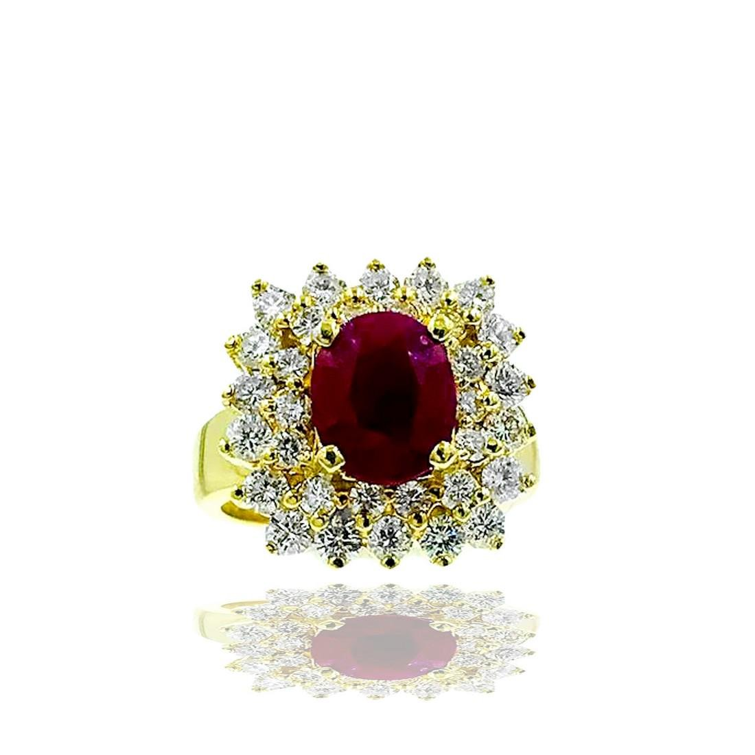 18 Karat yellow gold, 2.50 Ct. Burma Ruby & Double Halo