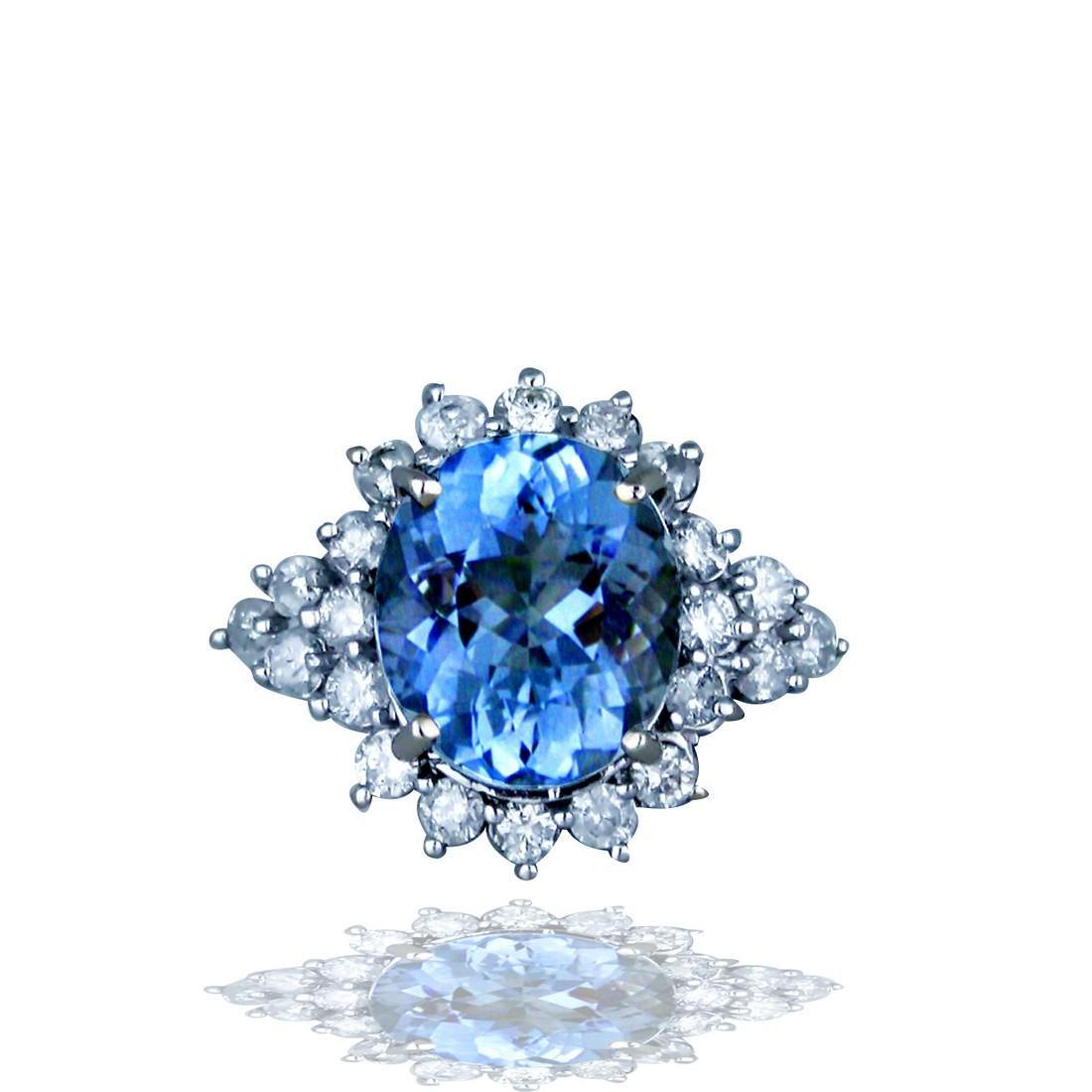 Oval Aquamarine 7.80 carat, Halo Diamond, 1.32 Carats