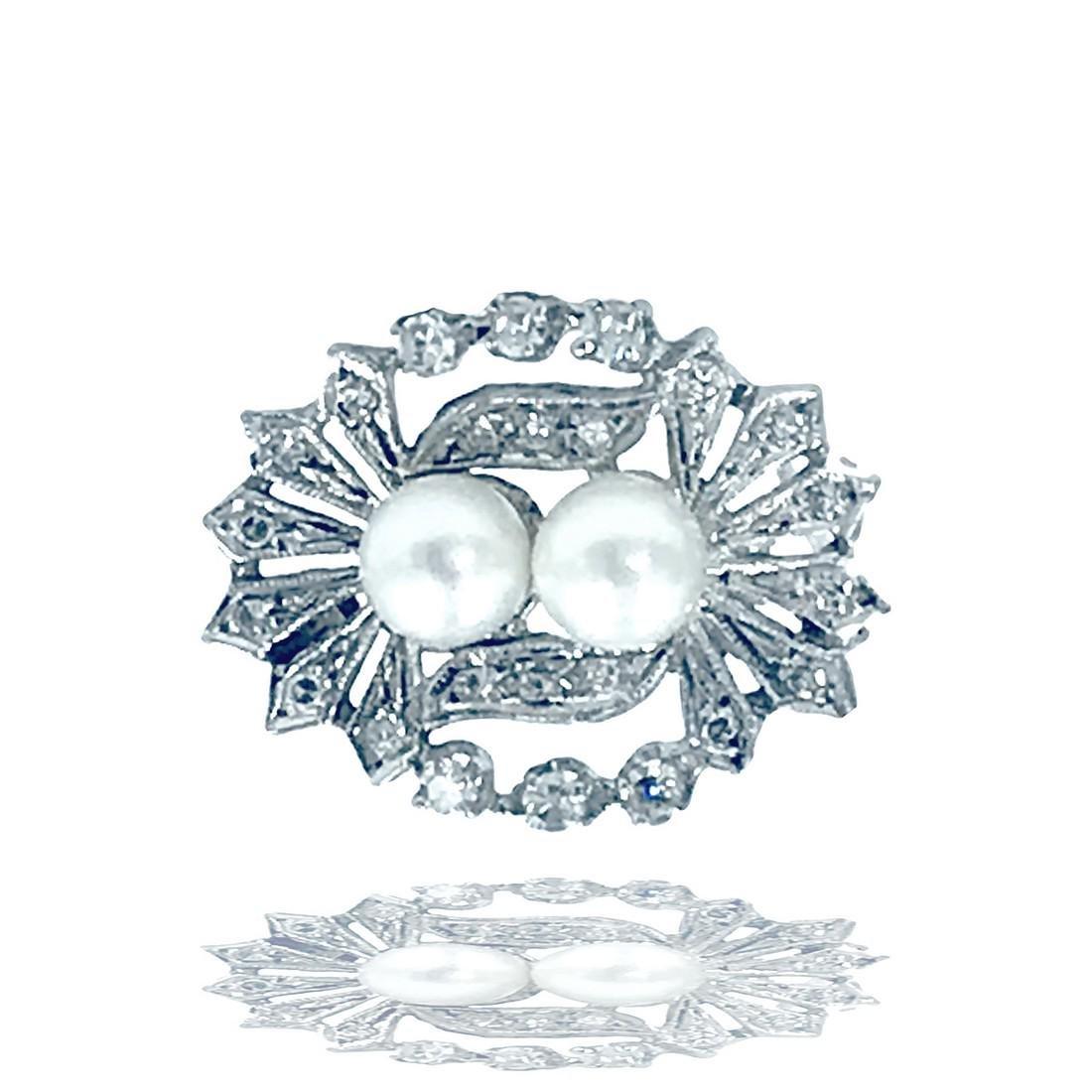 Victorian, Pearl and Diamond Pin 14 karat