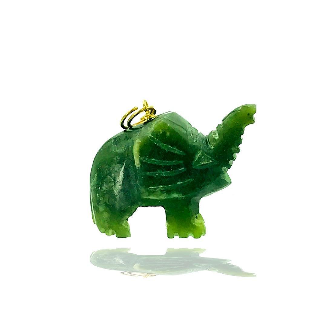 Green Jade Nephrite, Hand Carved Elephant Pendant