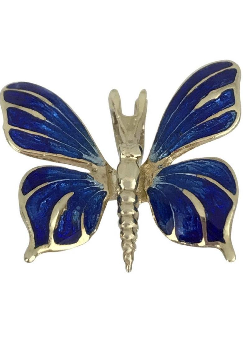 14 Karat Yellow Butterfly Enamel Pendant with Blue