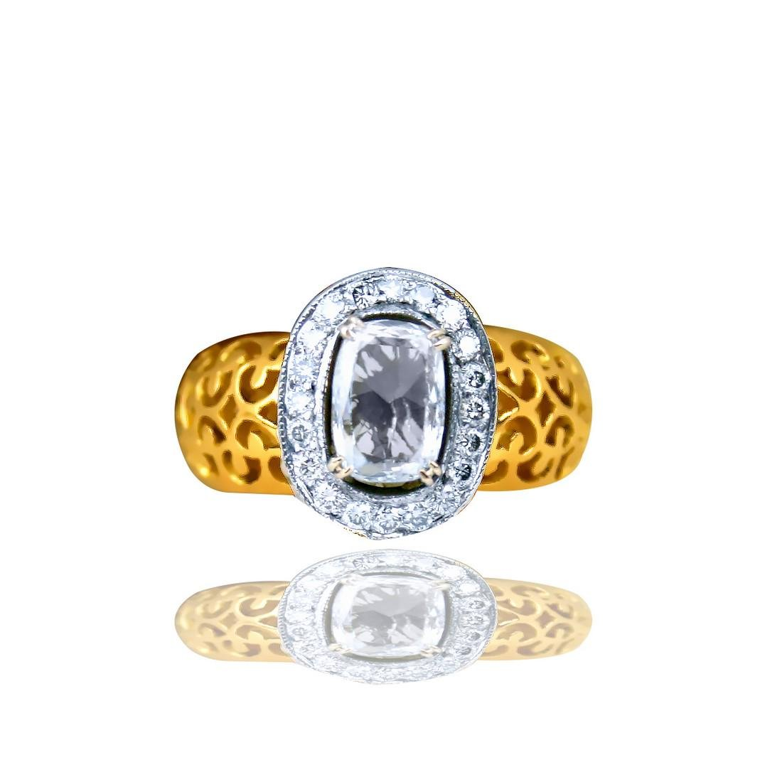 Edwardian, Filigree 1.25 Carat Cushion Cut Diamond Ring