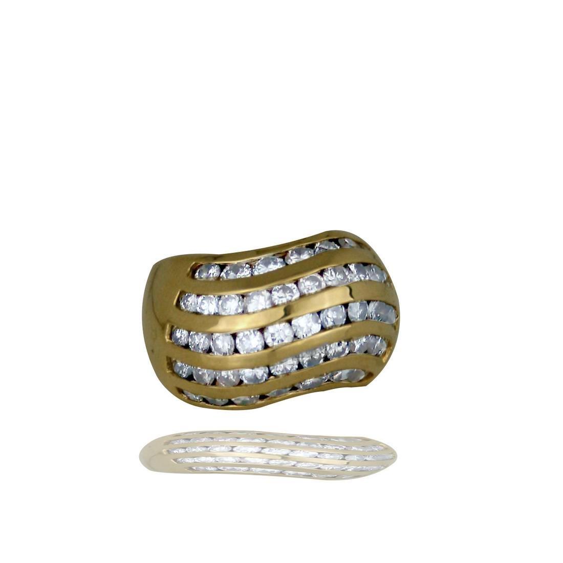 14 Kt. 2.25 TCW 5-Row, Channel Set Diamond Ring