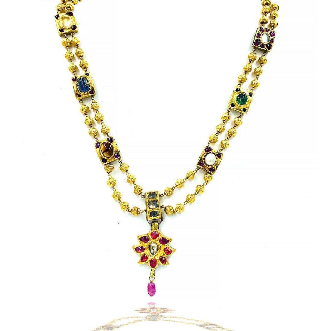 Vermeil Enameled Pendant Chain Necklace