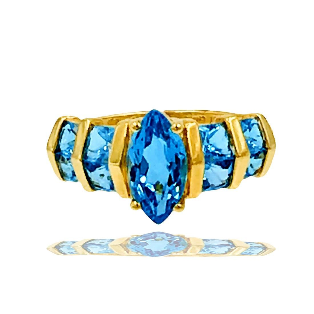 Contemporary, Swiss Blue Topaz ring with channel