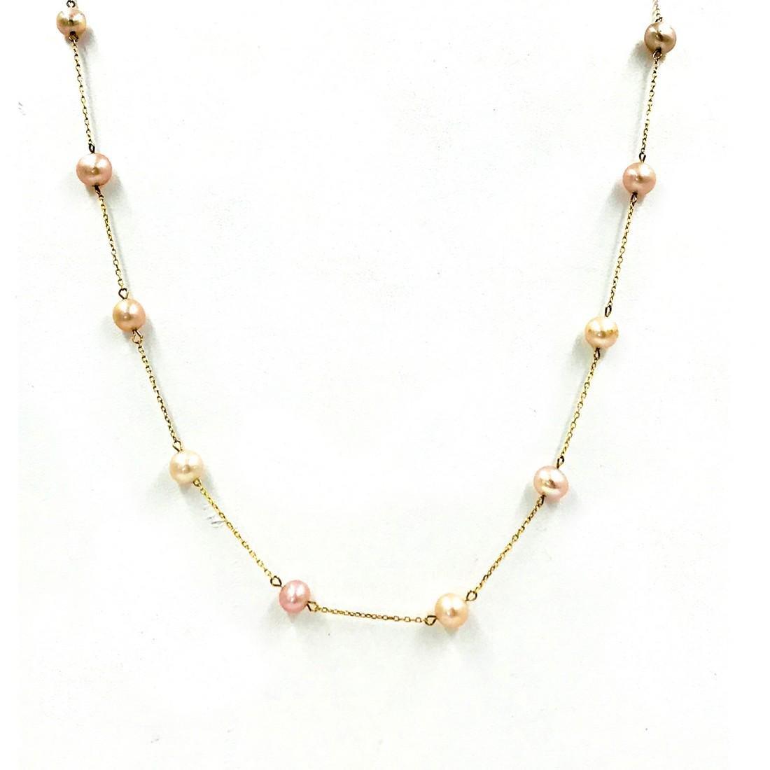 Pearl Strand Chain, Gold Karat Chain Necklace