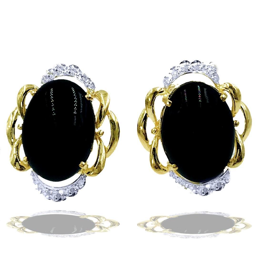 Black Onyx and Diamond Earrings with Omega Backs