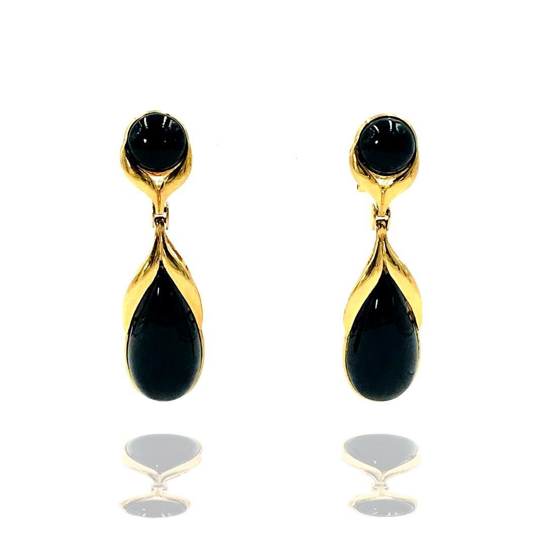 Black Onyx 2 Inch Long Dangle Earrings, Omega Backs