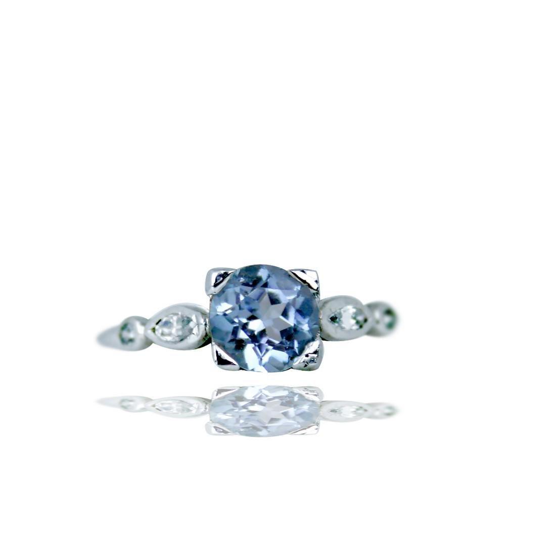 Platinum Diamond & Aquamarine Victorian Ring With