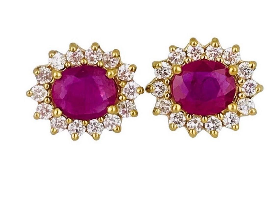 Burma Ruby 2.40 Carats set with Surrounding Halo