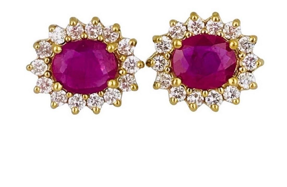 Burma Ruby 2.40 Carats set with Surrounding Halo - 2