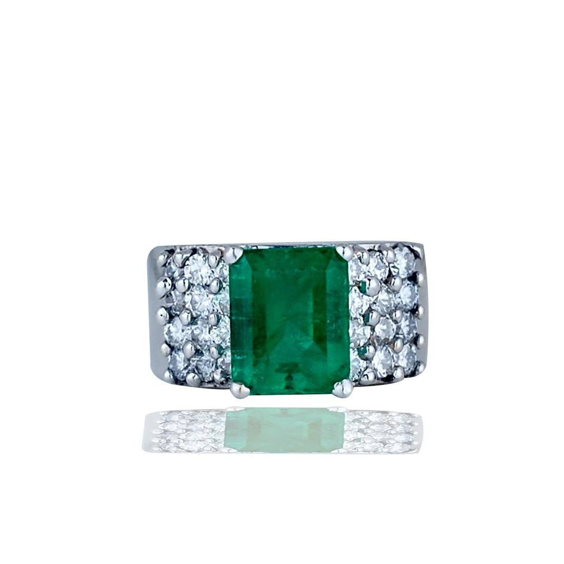 Large 3.50 carat Emerald with Diamond Wide Band 18