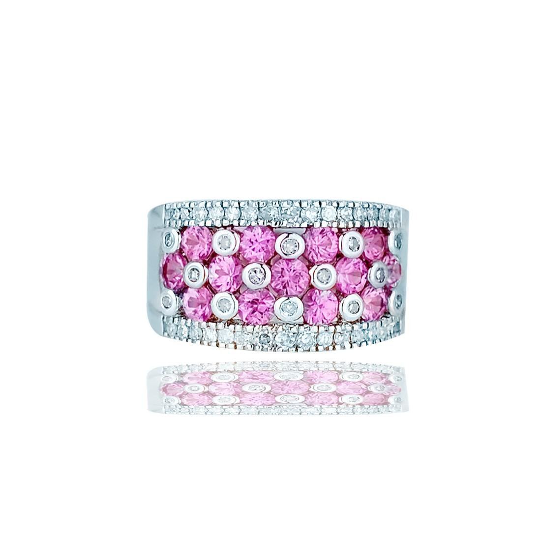 Pink Sapphire Invisable Diamond Ring, 14 Karat White