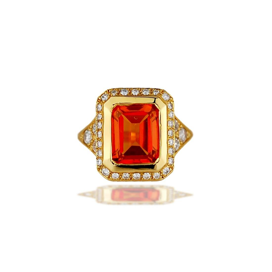 3.5 Carat Orange Sapphire Diamond 14 Karat Yellow Gold