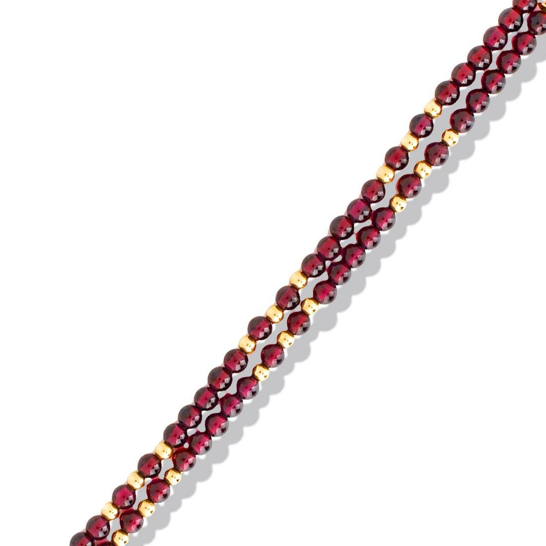 Retro, 2 Strand Garnet and Gold Tone Bead Bracelet