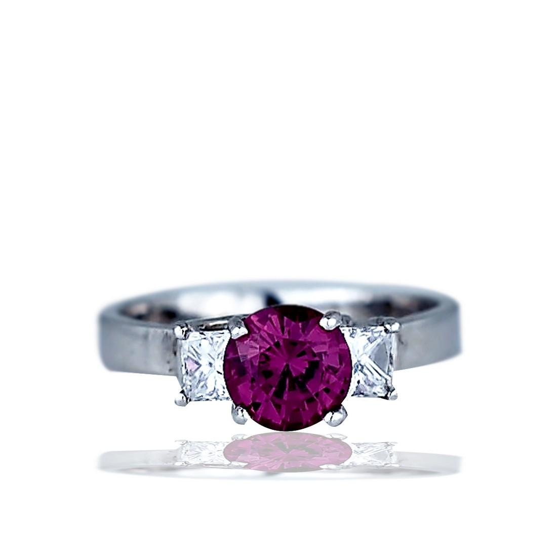 1.98 TCW Tourmaline and Diamond 3 Stone, 14 Karat